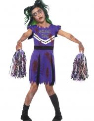 Déguisement de pompom girl violet zombie fille