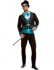 Déguisement Dia de los Muertos turquoise homme