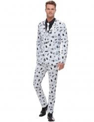 Costume blanc avec araignée noire homme