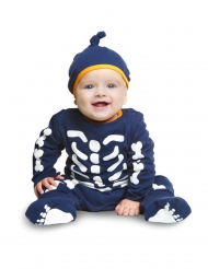 Déguisement combinaison petit squelette bleu bébé