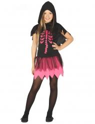 Déguisement robe squelette noir et fuchsia fille