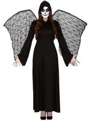Déguisement ange de la mort ailes dentelles femme