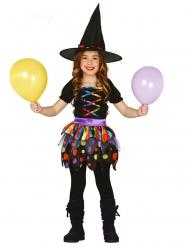 Déguisement mignonne petite sorcière multicolore fille
