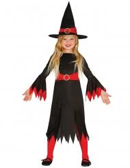Déguisement sorcière avec chapeau noir et rouge fille