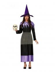 Deguisement sorcière avec chapeau noir et lilas femme
