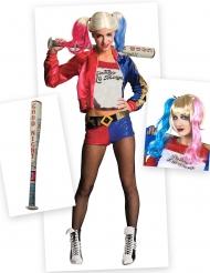 Pack déguisement et accessoire Harley Quinn femme