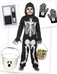 Pack déguisement et accessoires de squelette garçon