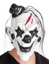 Masque latex clown psycho noir et blanc avec cheveux