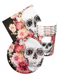 Kit vaisselle jetable Dia de los muertos 6 personnes