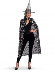 Set sorcière chapeau et cape noir et argent femme