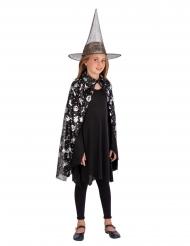 Set sorcière chapeau et cape noir et argent fille