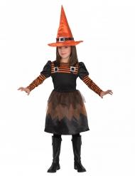 Déguisement mignonne petite sorcière orange fille