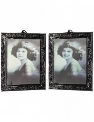 Tableau 3D jeune fille noir et blanc 29 x 23 cm
