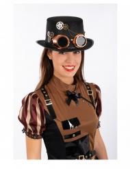 Chapeau haut de forme steampunk en feutre avec lunettes adulte