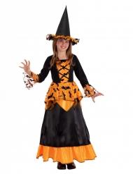 Déguisement sorcière chauve-souris avec chapeau noir et orange fille