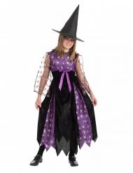 Déguisement sorcière petites araignées avec chapeau noir et violet fille