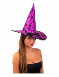 Chapeau sorcière violet chauve-souris 36 cm