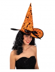 Chapeau sorcière orange chauve-souris 36 cm