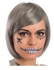Décorations adhésives visage squelette adulte