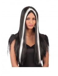 Perruque longue noir et blanche
