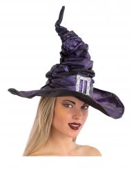 Chapeau sorcière violet en tissu plissé avec boucle 42 cm adulte
