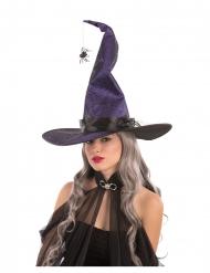 Chapeau sorcière violet malléable en tissu avec araignées 50 cm