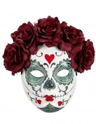 Masque Dia de los muertos roses bordeaux adulte