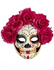 Masque Dia de los muertos roses rouges adulte