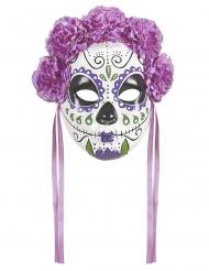 Masque Dia de los muertos violettes et rubans adulte