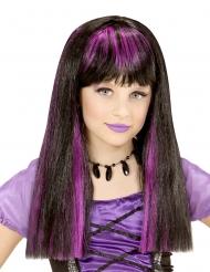 Perruque sorcière mèches violettes fille