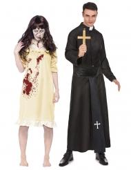 Déguisement couple fille exorcisée et prêtre adultes