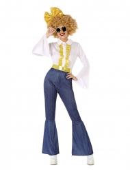 Déguisement disco effet jean et doré femme