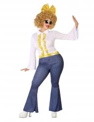 Déguisement disco effet jean et doré femme grande taille