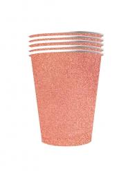 10 Gobelets américains scintillants carton recyclable rose gold 53cl