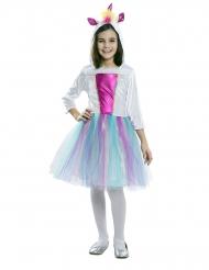 Déguisement robe avec capuche licorne fille