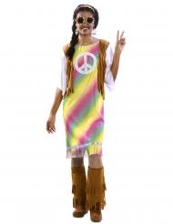 Déguisement robe hippie arc-en-ciel femme