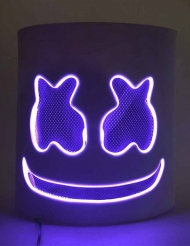 Masque DJ guimauve led violet adulte