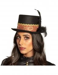 Chapeau haut de forme steampunk plume adulte