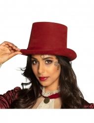 Chapeau haut de forme steampunk bordeaux luxe adulte