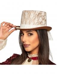 Chapeau haut de forme steampunk dentelle blanche adulte