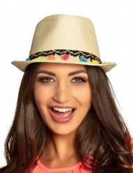 Chapeau borsalino avec pompons multicolores adulte
