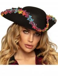 Chapeau pirate avec fleurs multicolores adulte