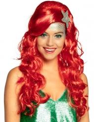 Perruque sirène rouge avec étoile de mer adulte
