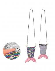 Sac queue de sirène avec zip paillettes arc-en-ciel et argent réversibles adulte