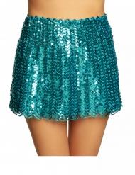 Jupe à sequins turquoise femme