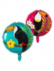 Ballon aluminium toucan bleu et fuschia 45 cm