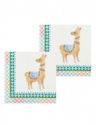 12 Serviettes en papier lama blanches 33 x 33 cm