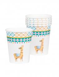 6 Gobelets en carton lama blancs 25 cl