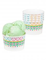 6 Pots de glace en carton lama blancs 27 cl