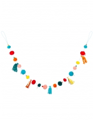Guirlande de pompons multicolores 125 cm